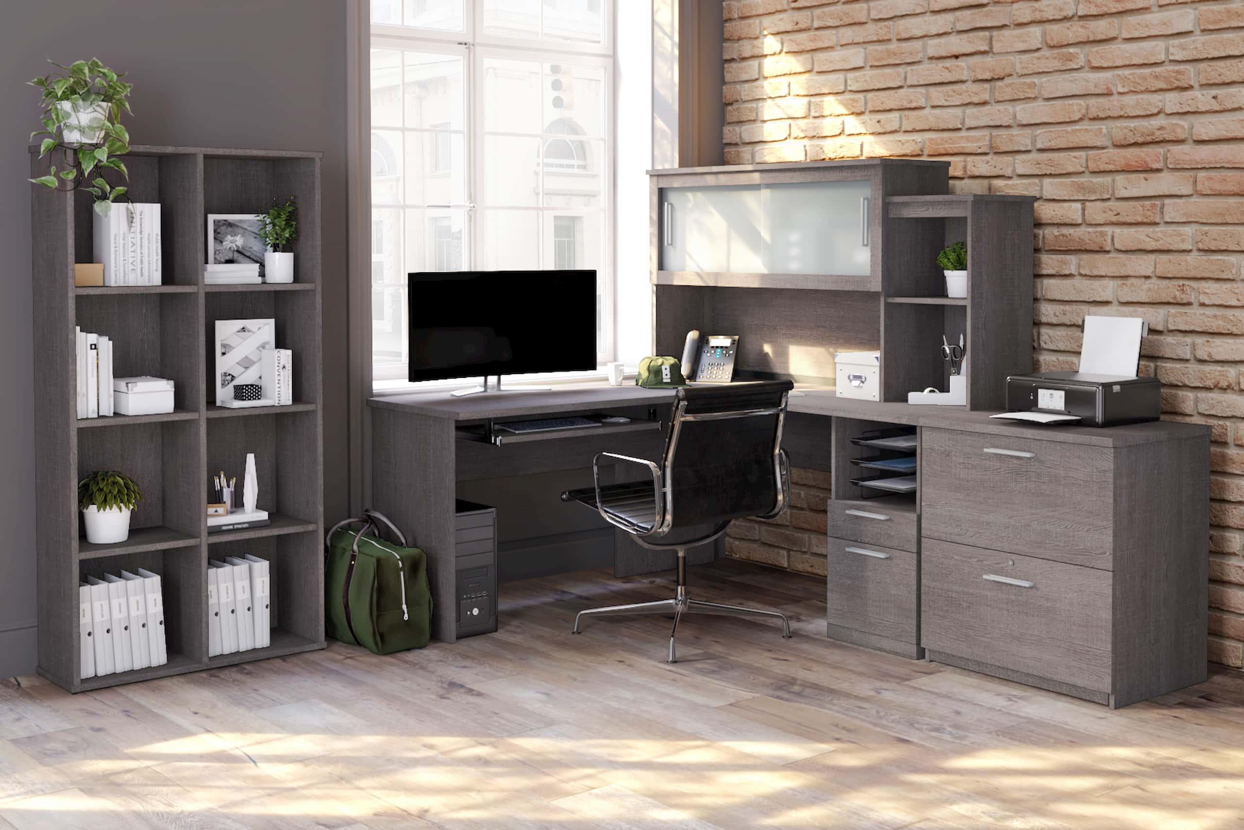 L shaped desk home office brick
