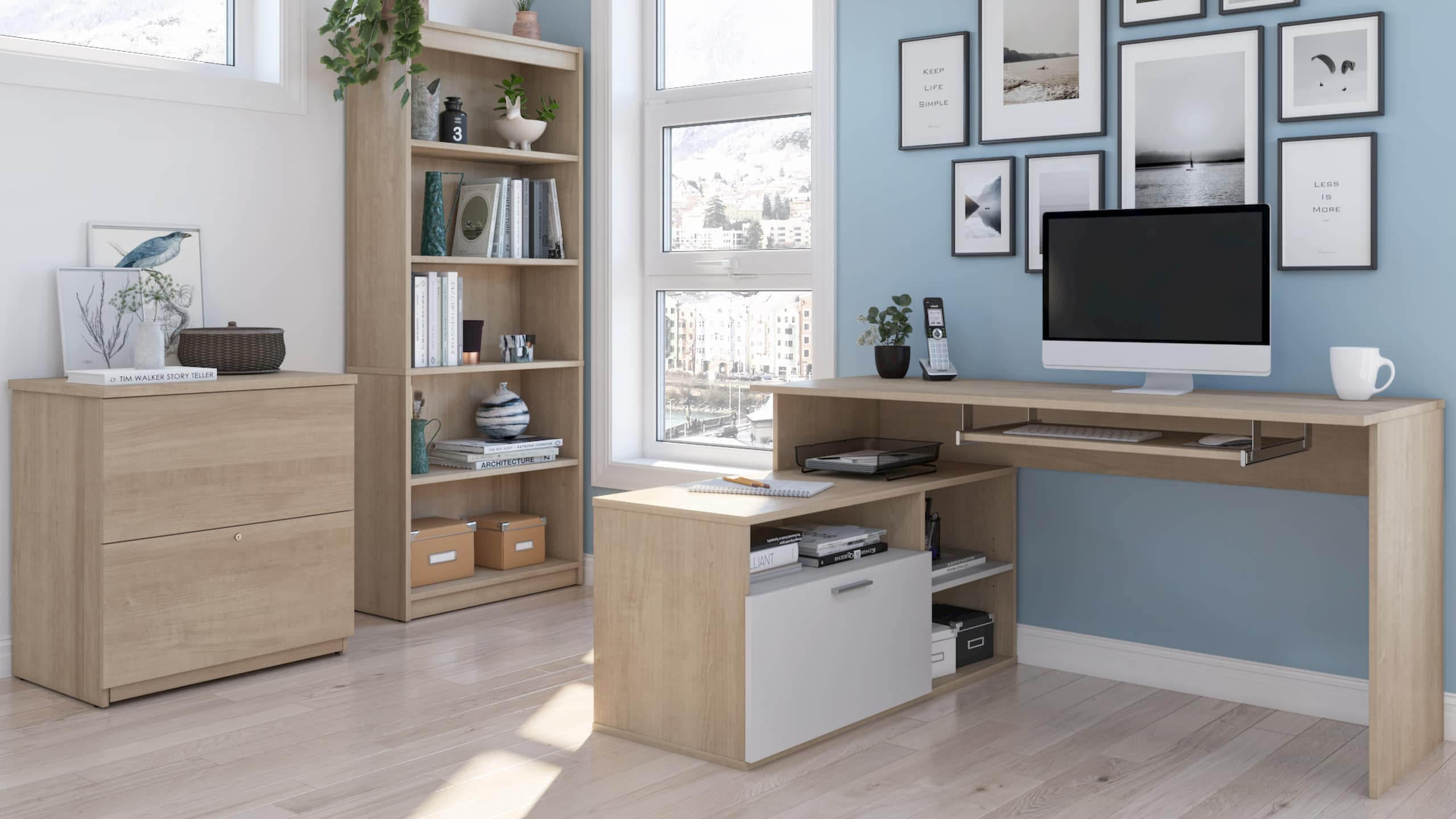 L shaped desk home storage decor