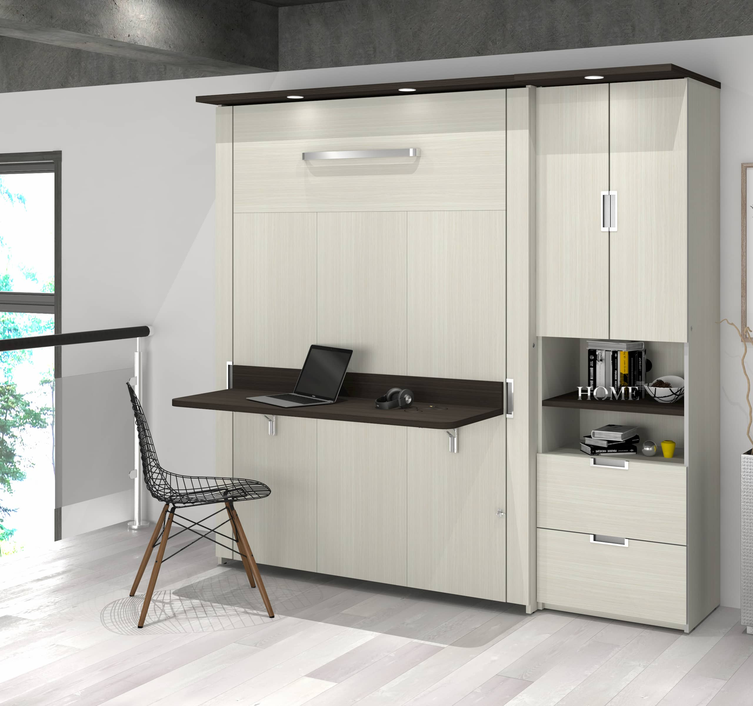 Murphy bed with bookcase and desk
