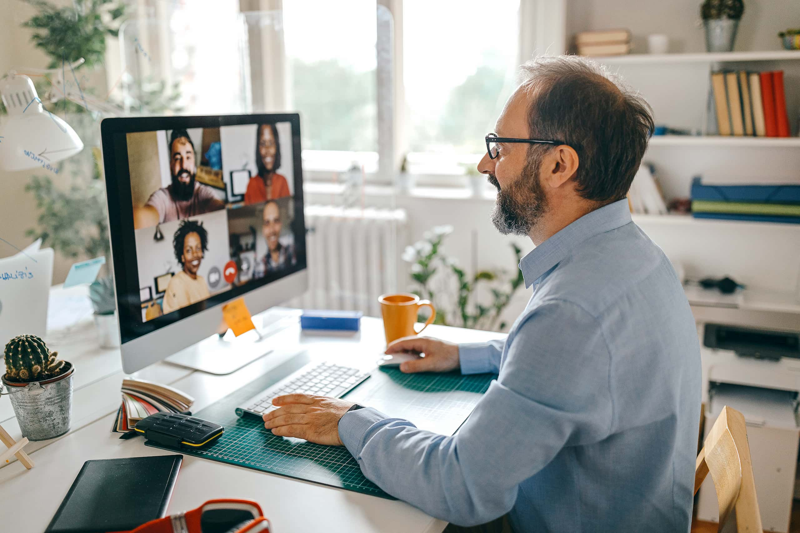 men video conference home office
