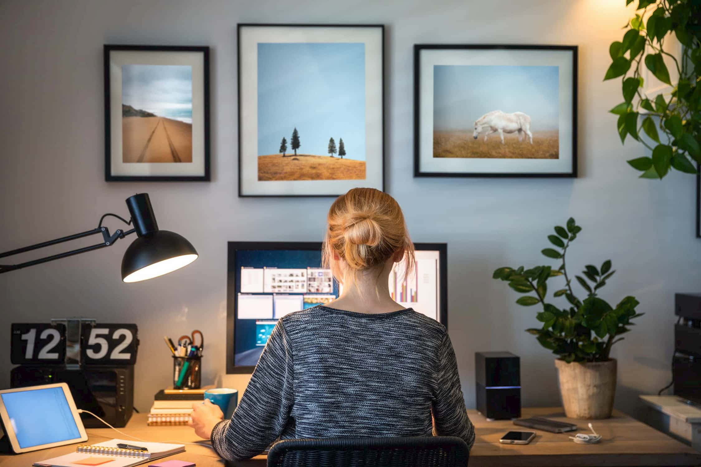 woman home office work