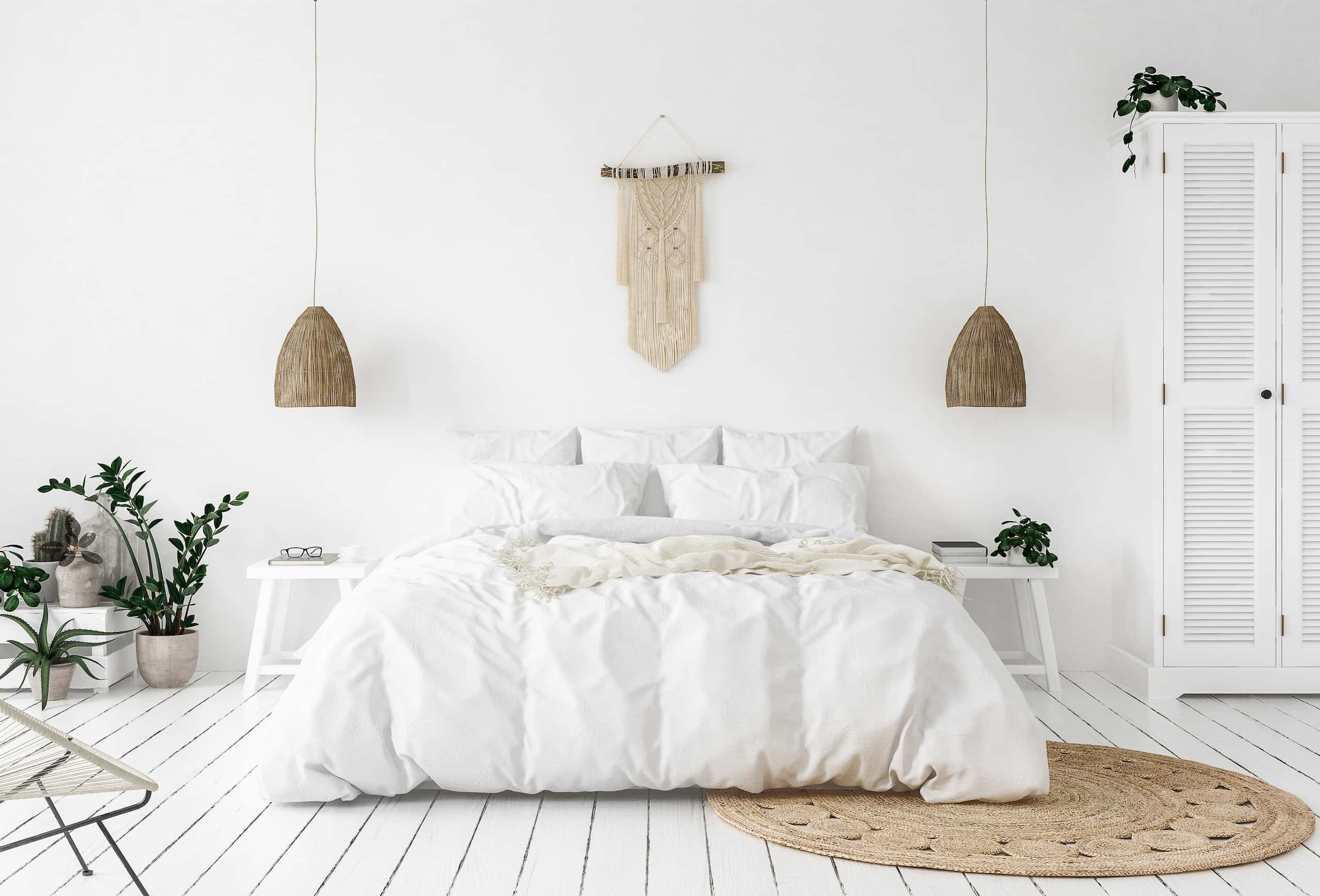 white bedroom bohemian