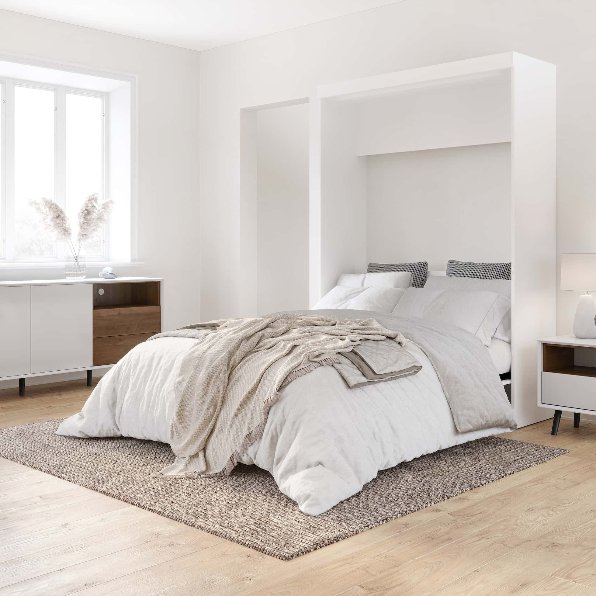 A White Esthetic for a Splendid Bedroom ー White Murphy Bed, Natural Light, and More