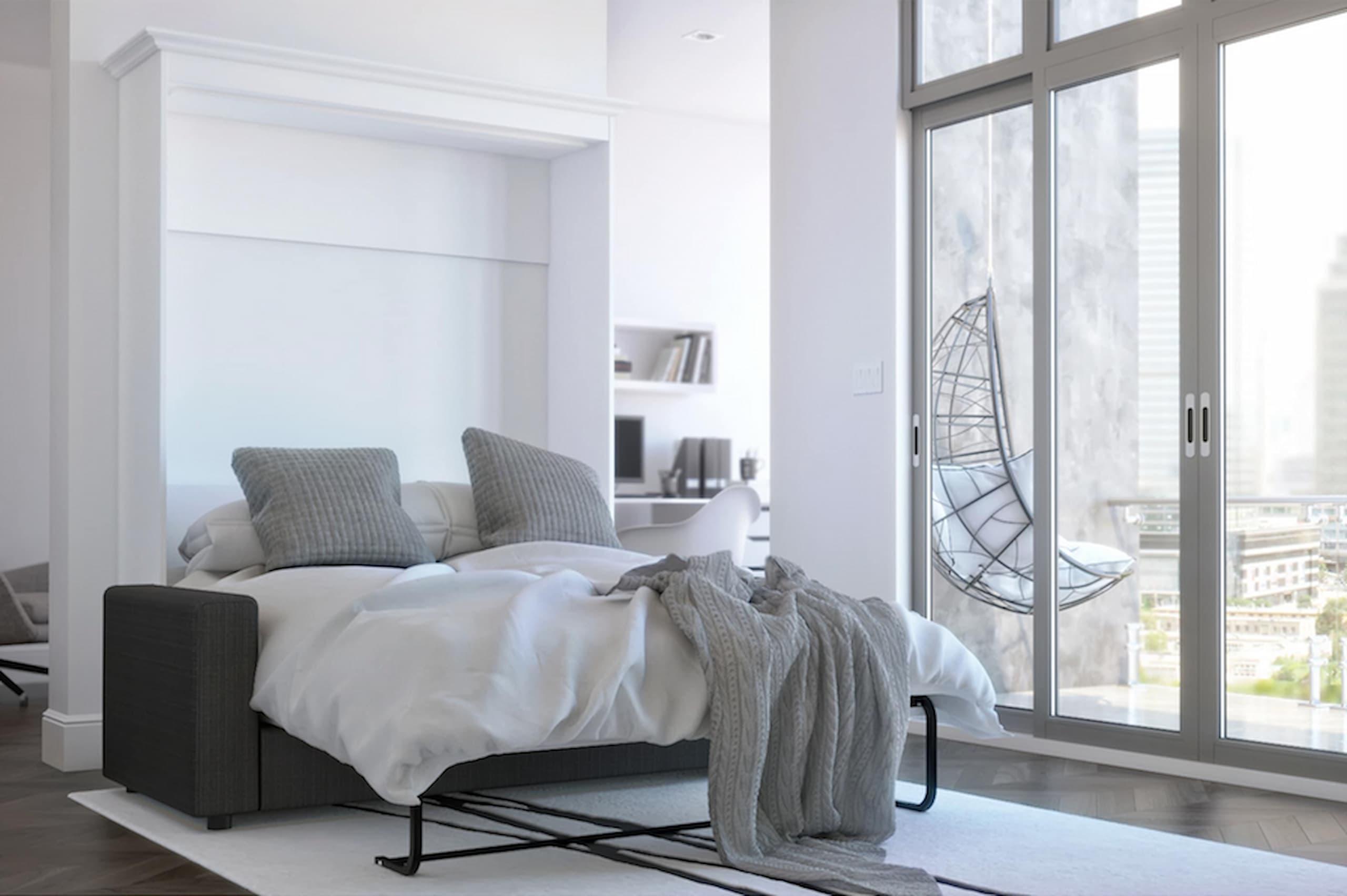 white murphy sofa bed natural light