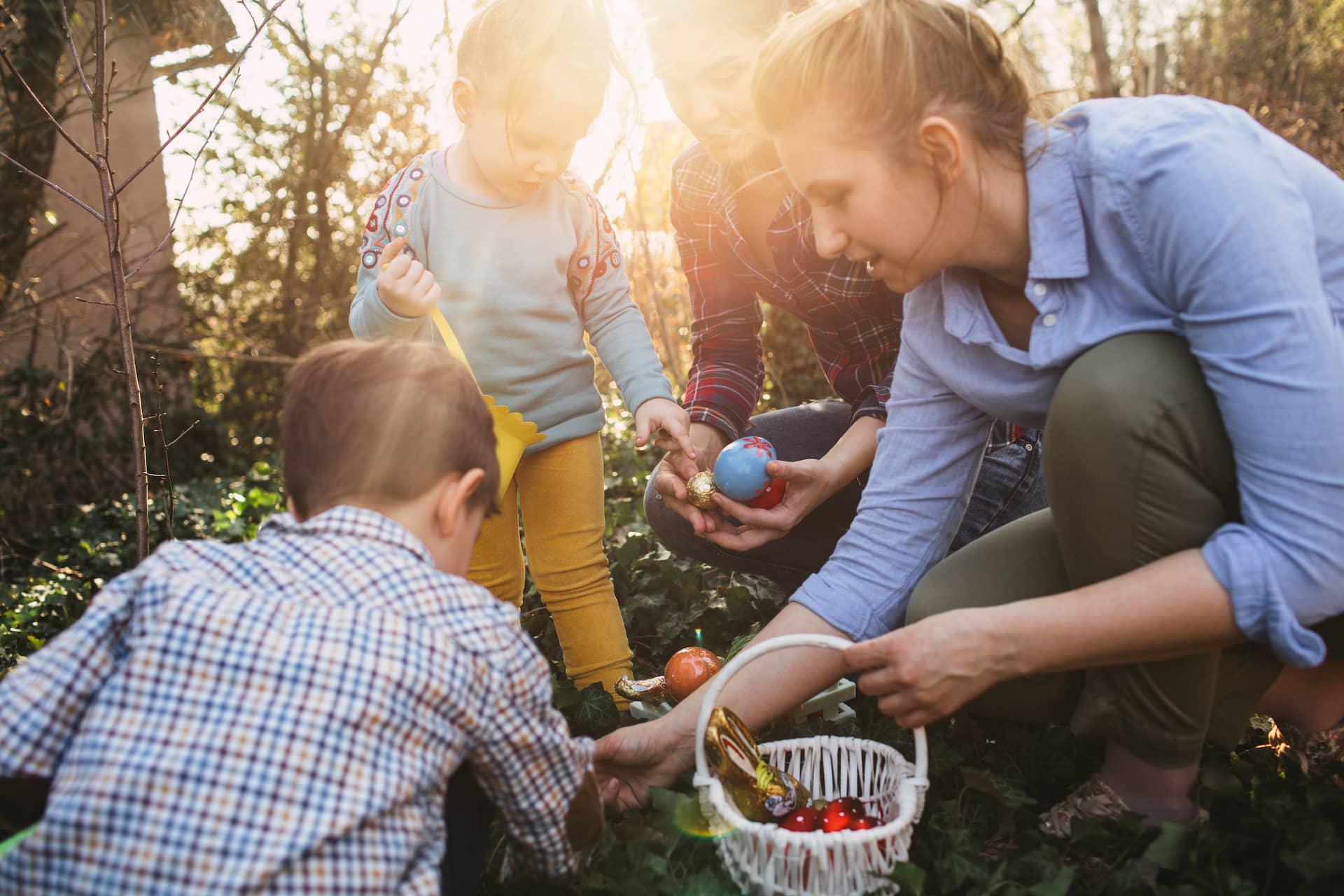 family hunting easter eggs