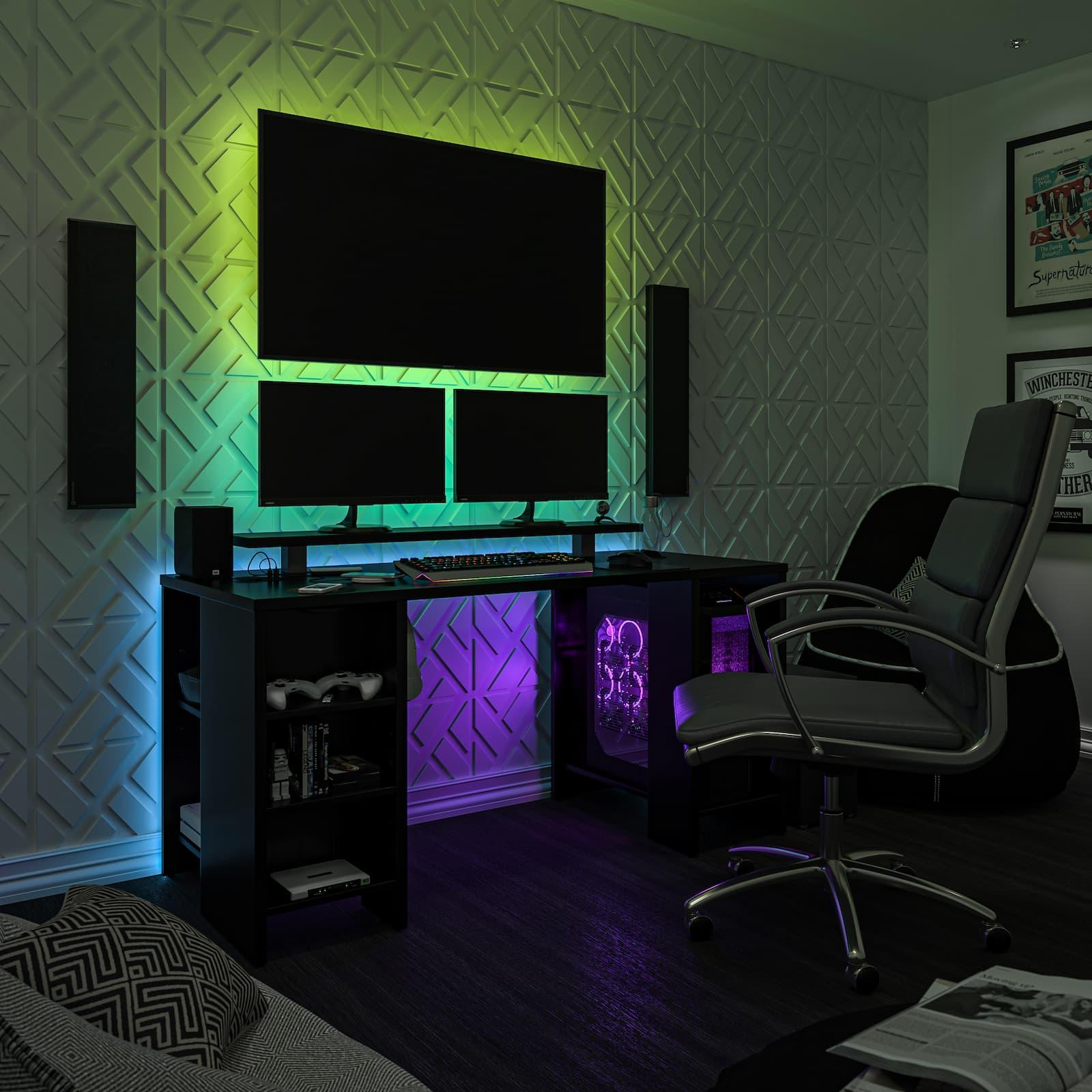 gaming desk LED lights monitors and TV