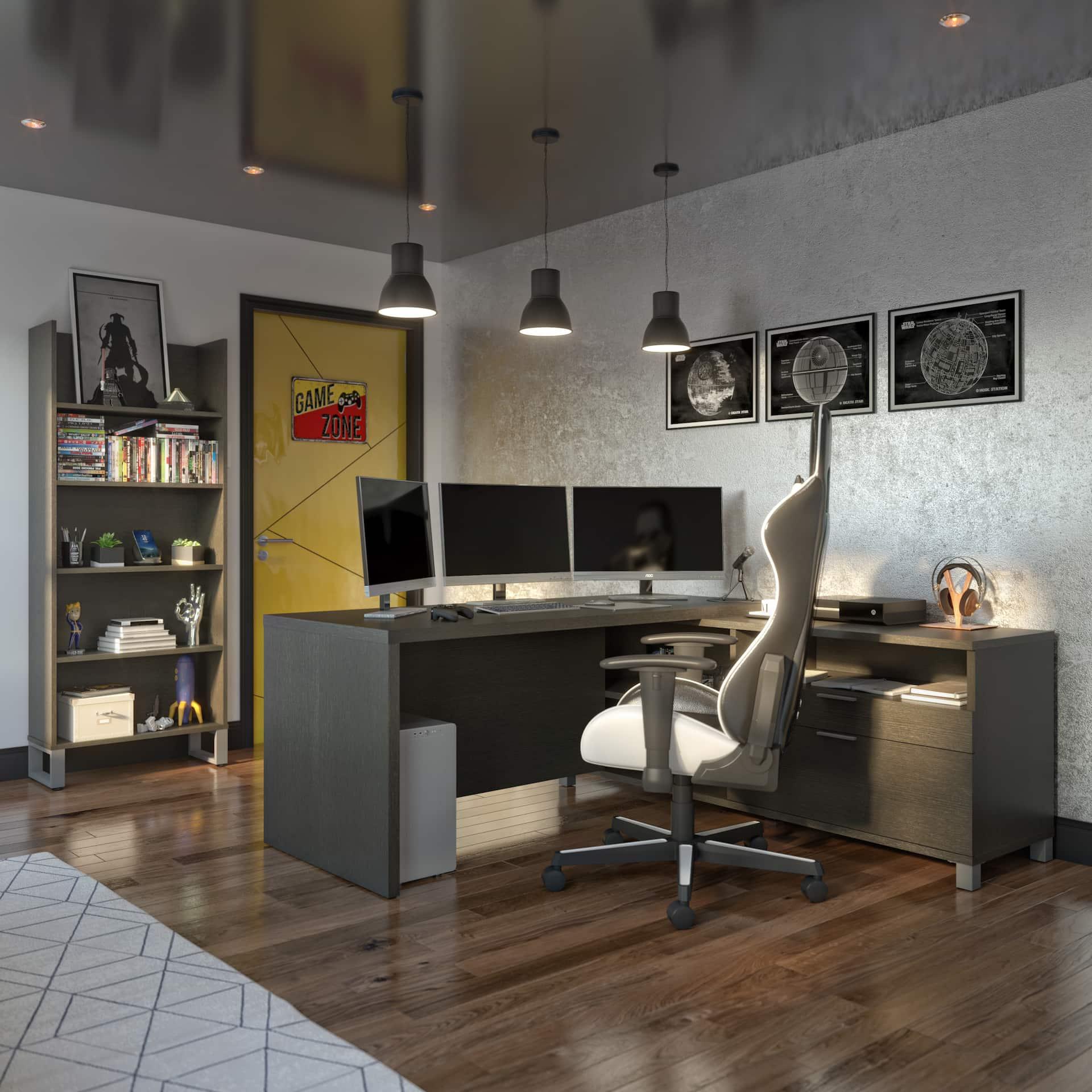 l gaming desk setup neutrals