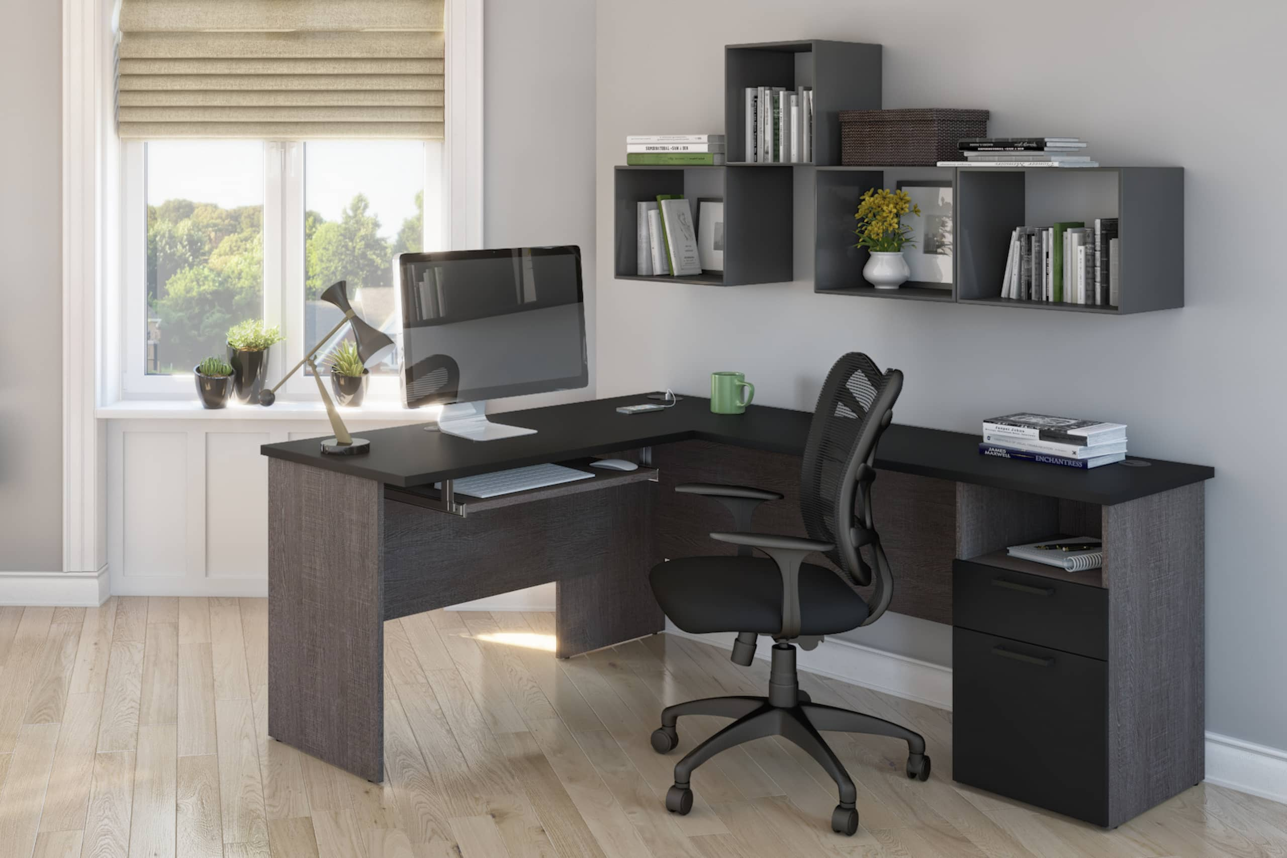 l shaped computer desk home office shelves