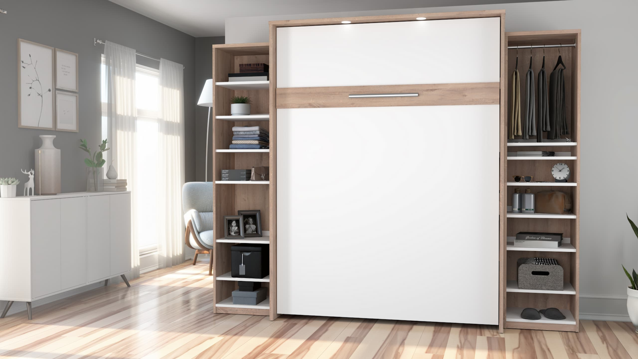 murphy bed with bookshelf folded up