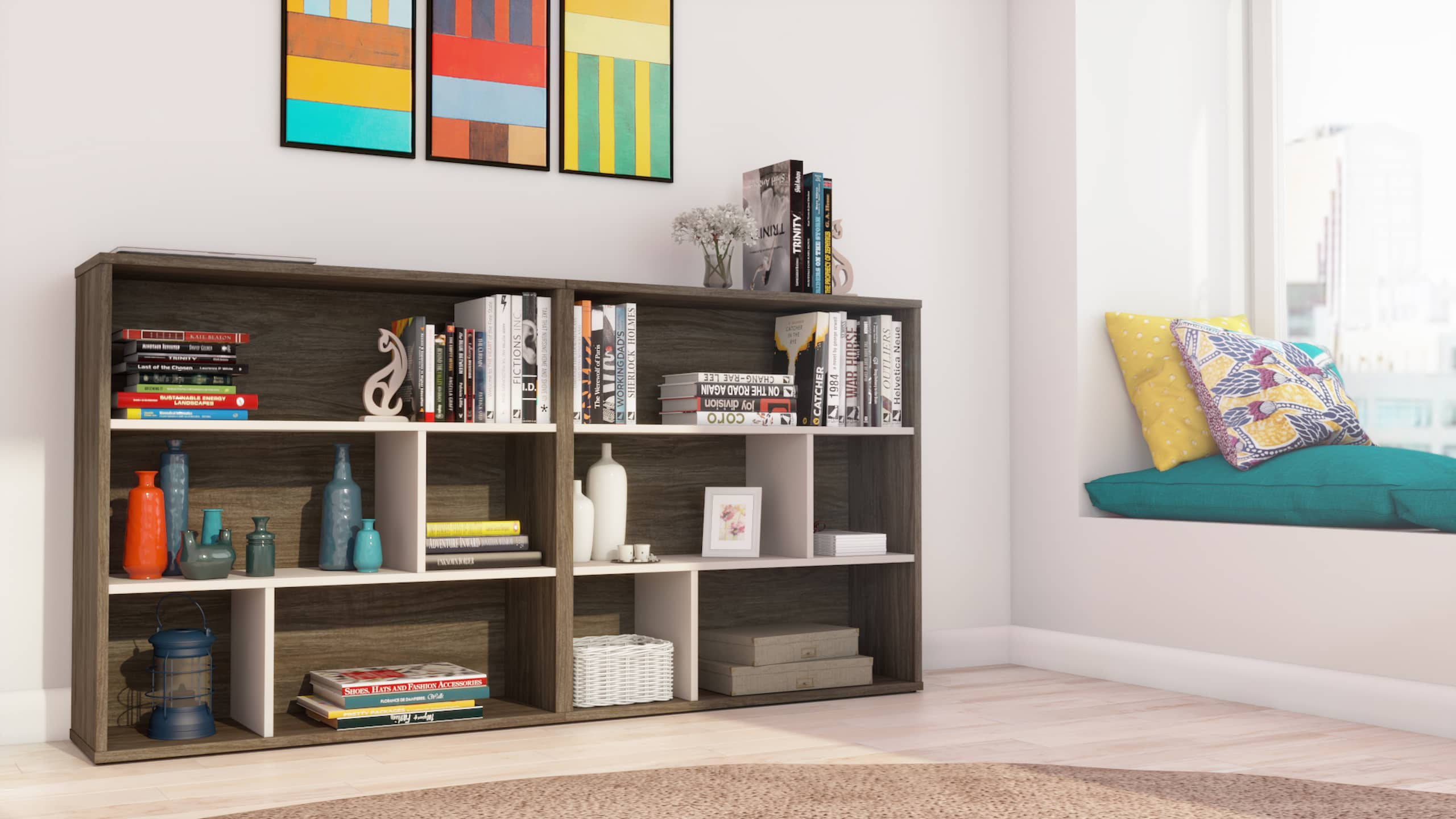 shelving units with pastel colors easter 2021