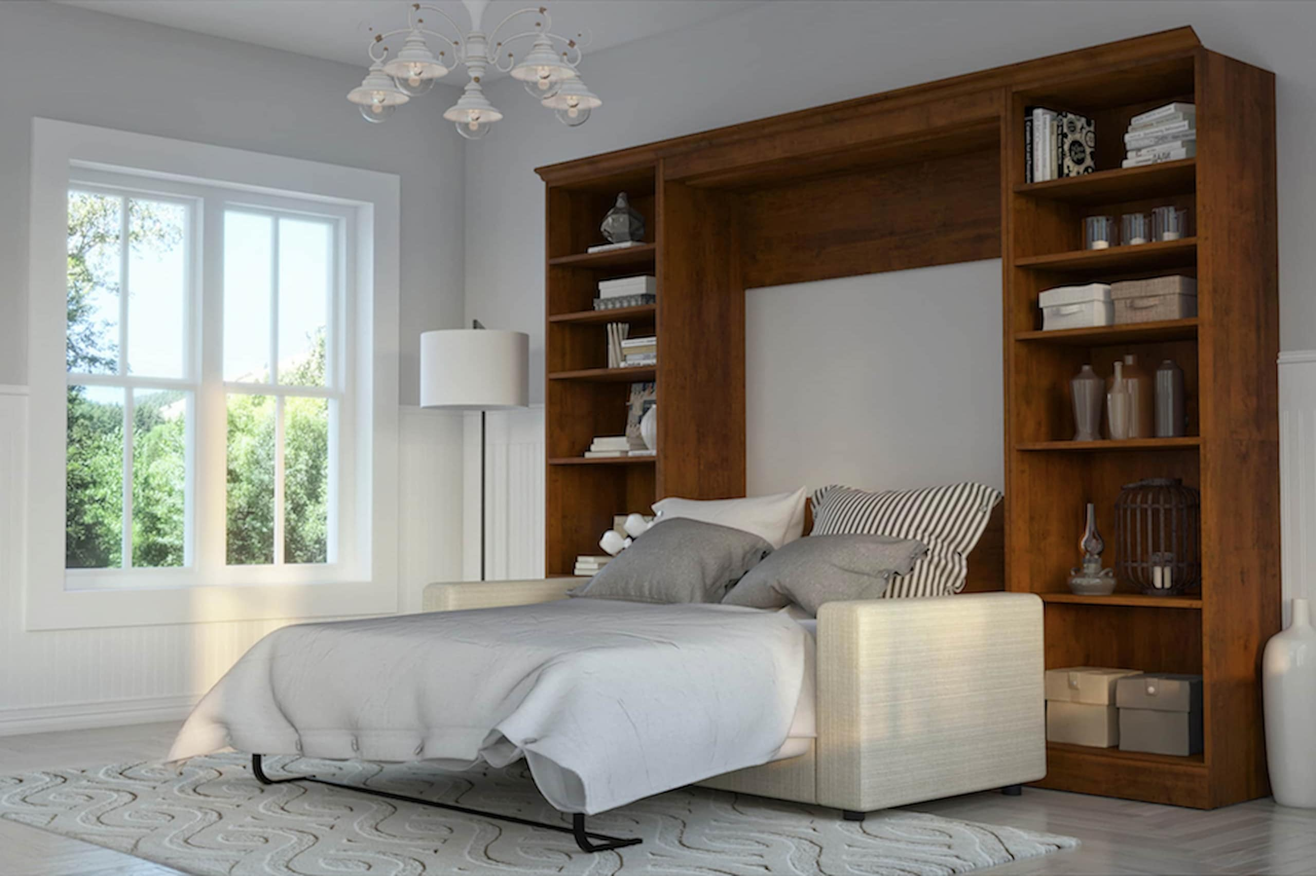 sofa murphy bed with bookcase living room