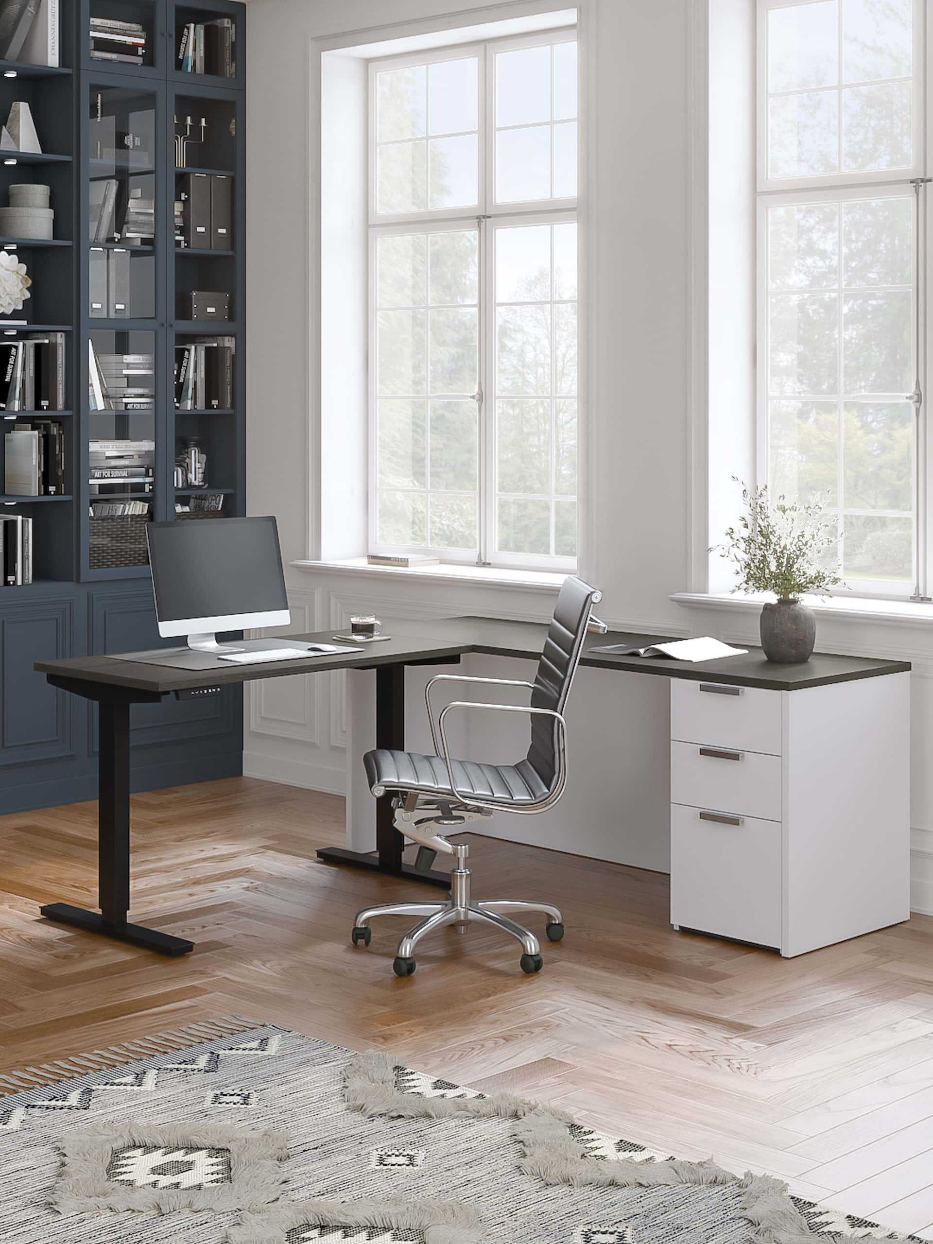 standing computer desk bookcase