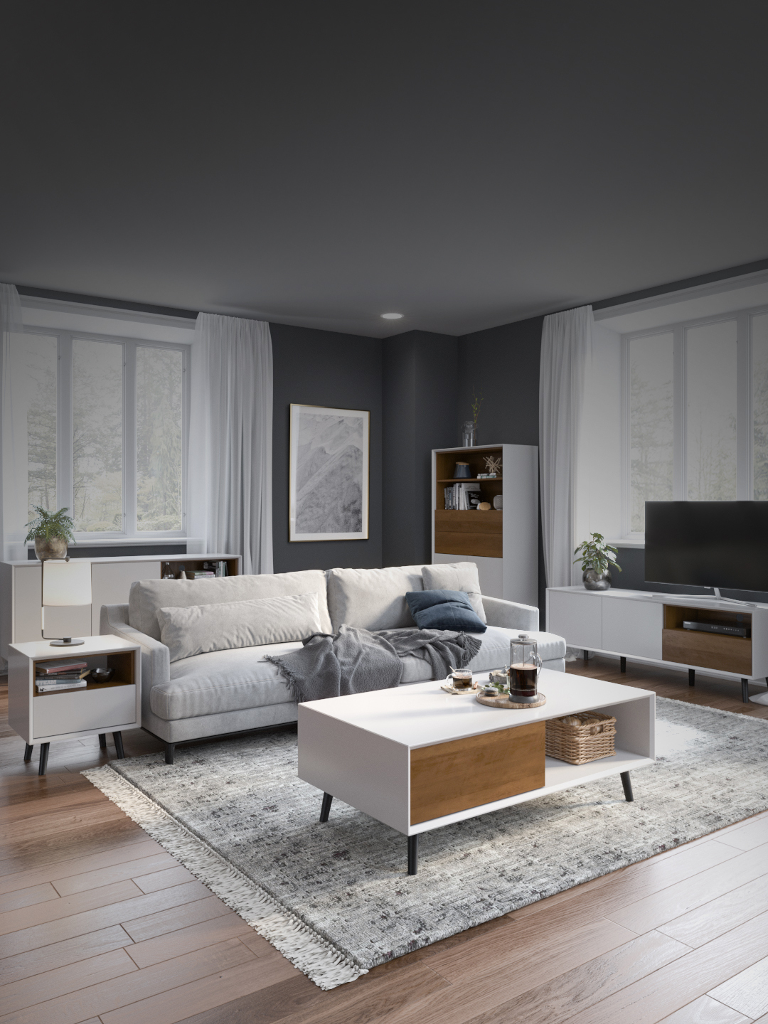 Living room with coffee table, sofa and tv