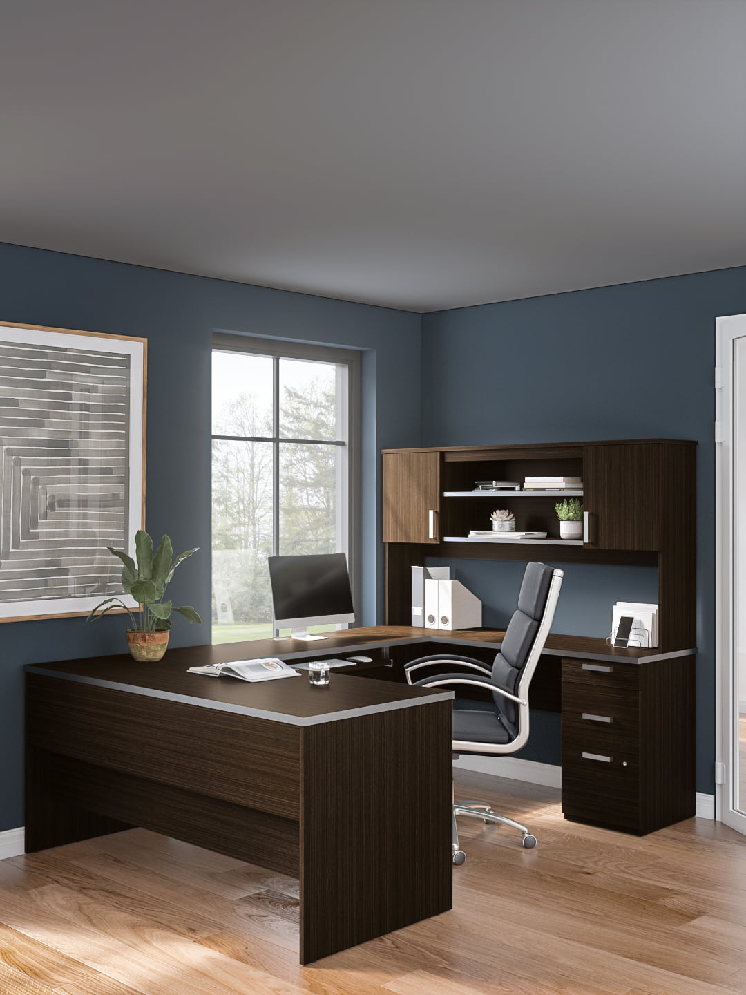 65W U-Shaped Executive Desk with Pedestal and Hutch