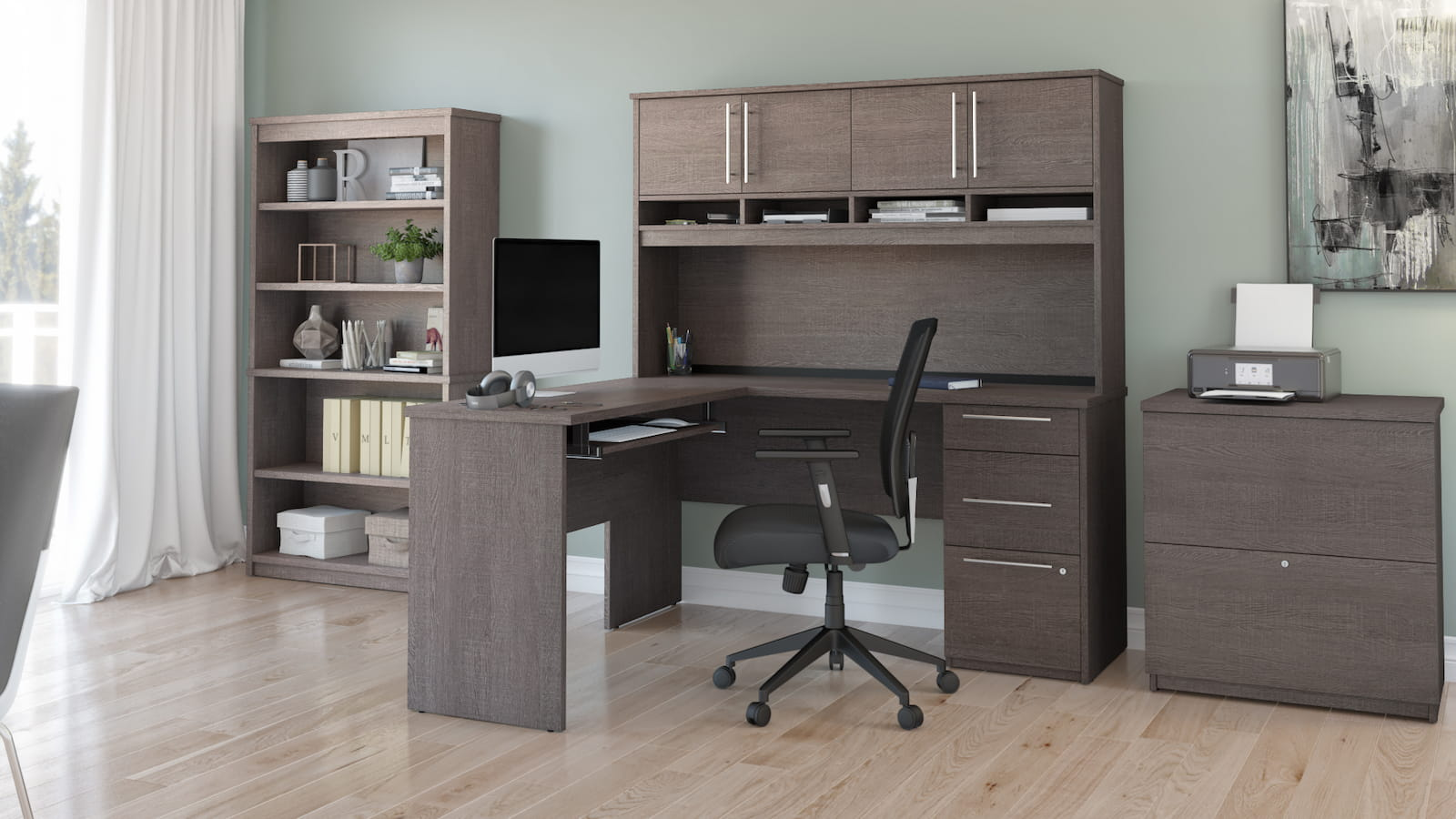 l-shaped desk with hutch bookcase black chair