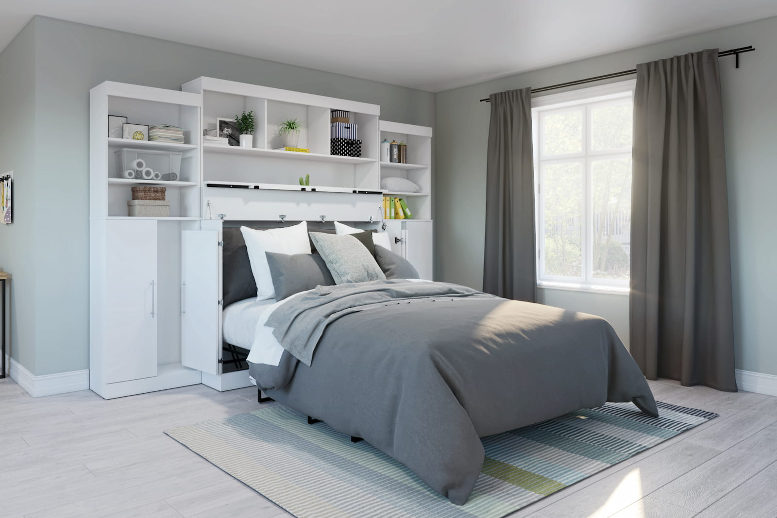 white cabinet bed with hutches and gray bedding