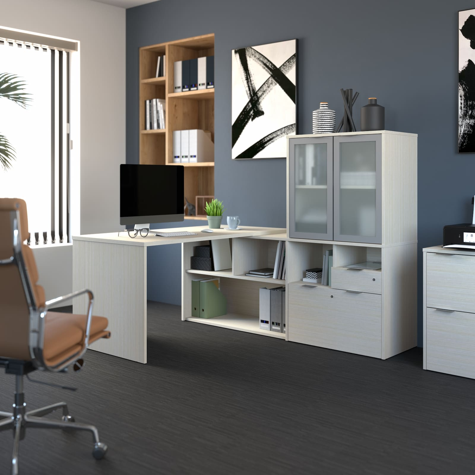 Adding Storage to Your Furniture – L-Shaped Desk with Hutch, Shelving Unit, and More