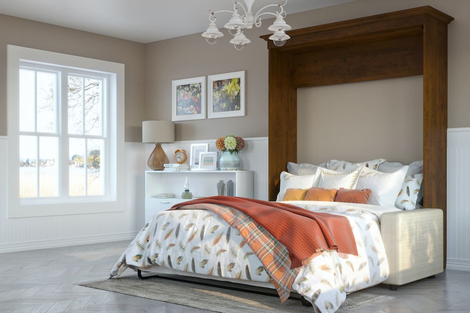 brown murphy bed with couch in room red and orange pillows and blankets