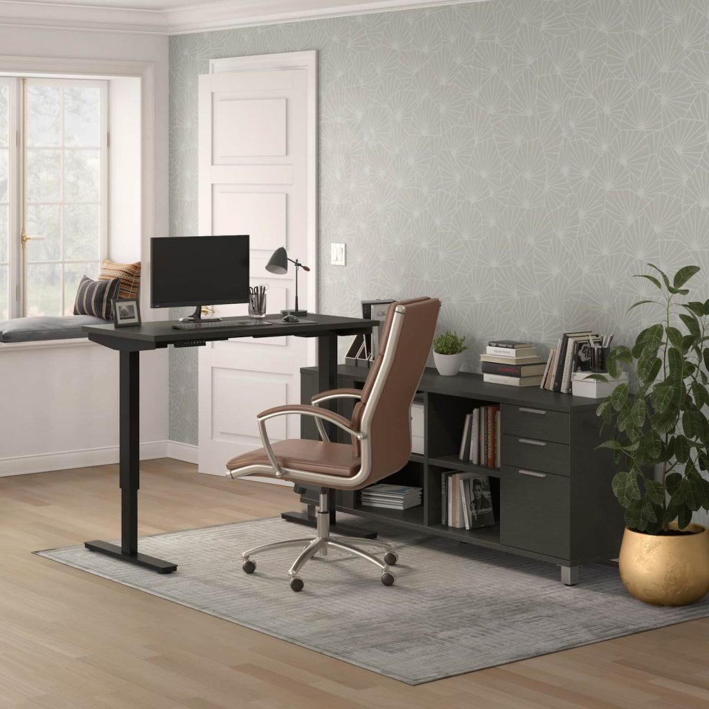 lifted standing desk with storage, brown credenza in front of window