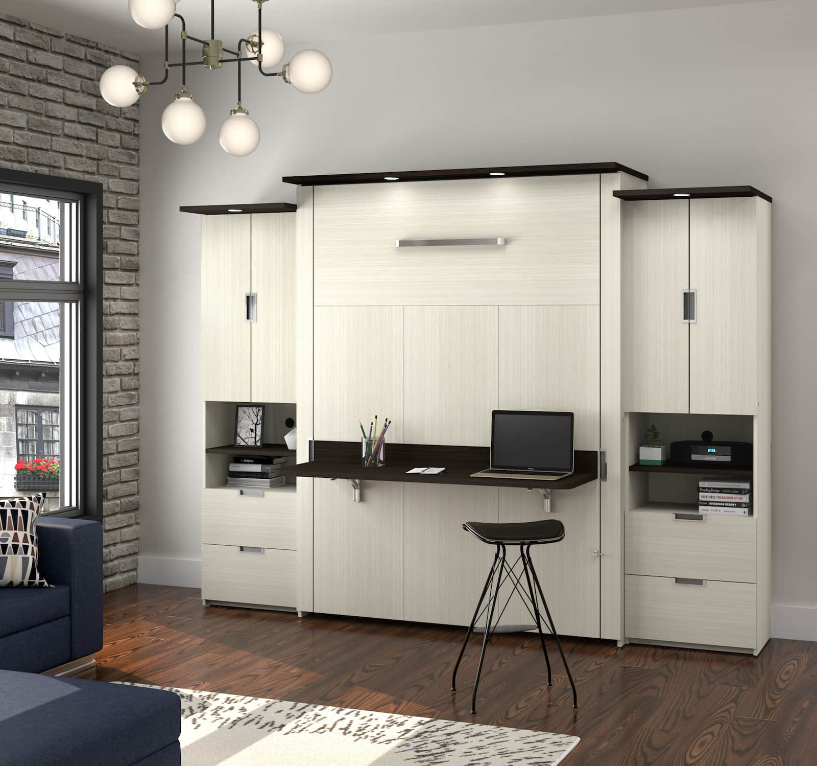 beige and brown murphy bed with built-in desk and side shelving units and hanging lights