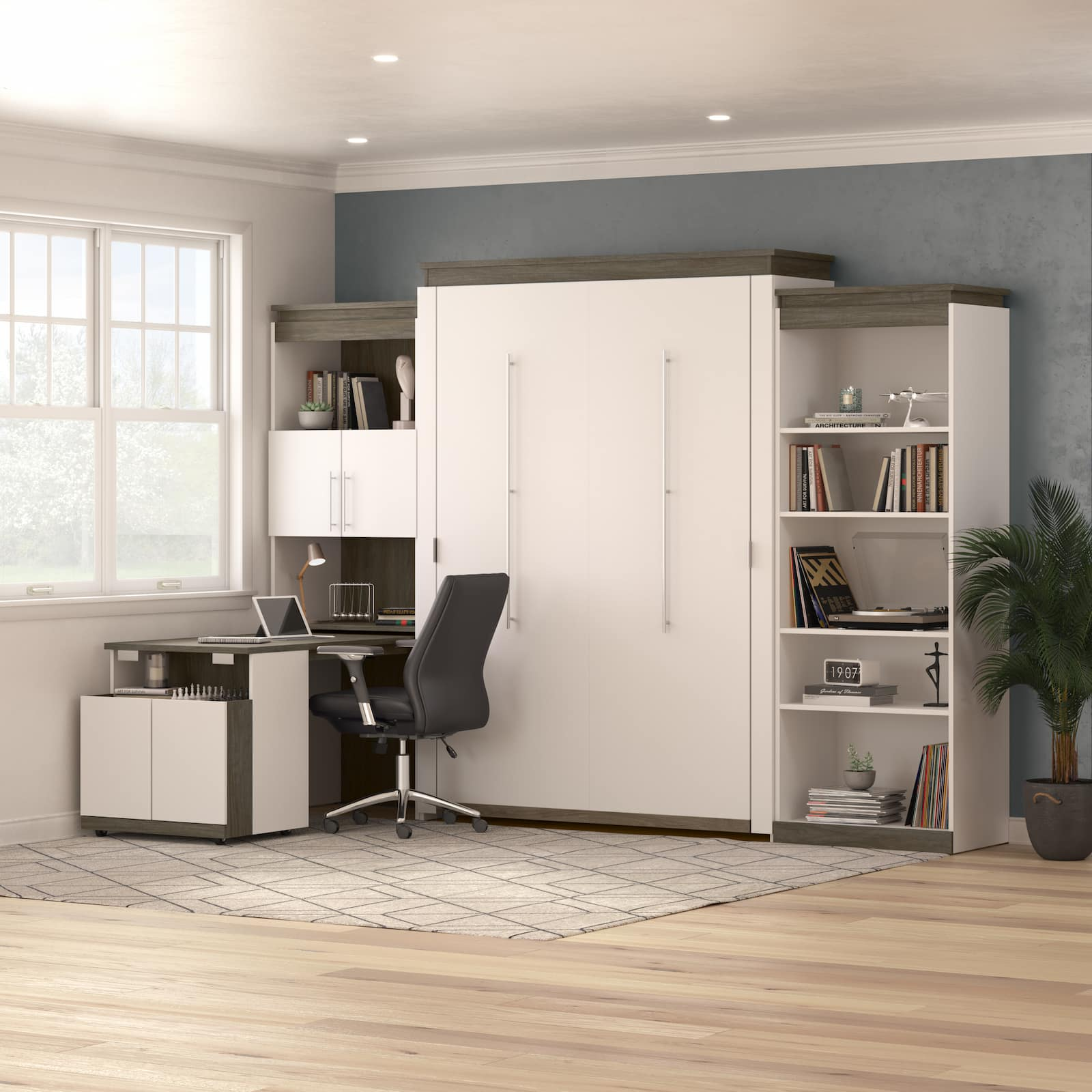 An Inspired Flex Space Begins With A Queen Murphy Bed With a Desk