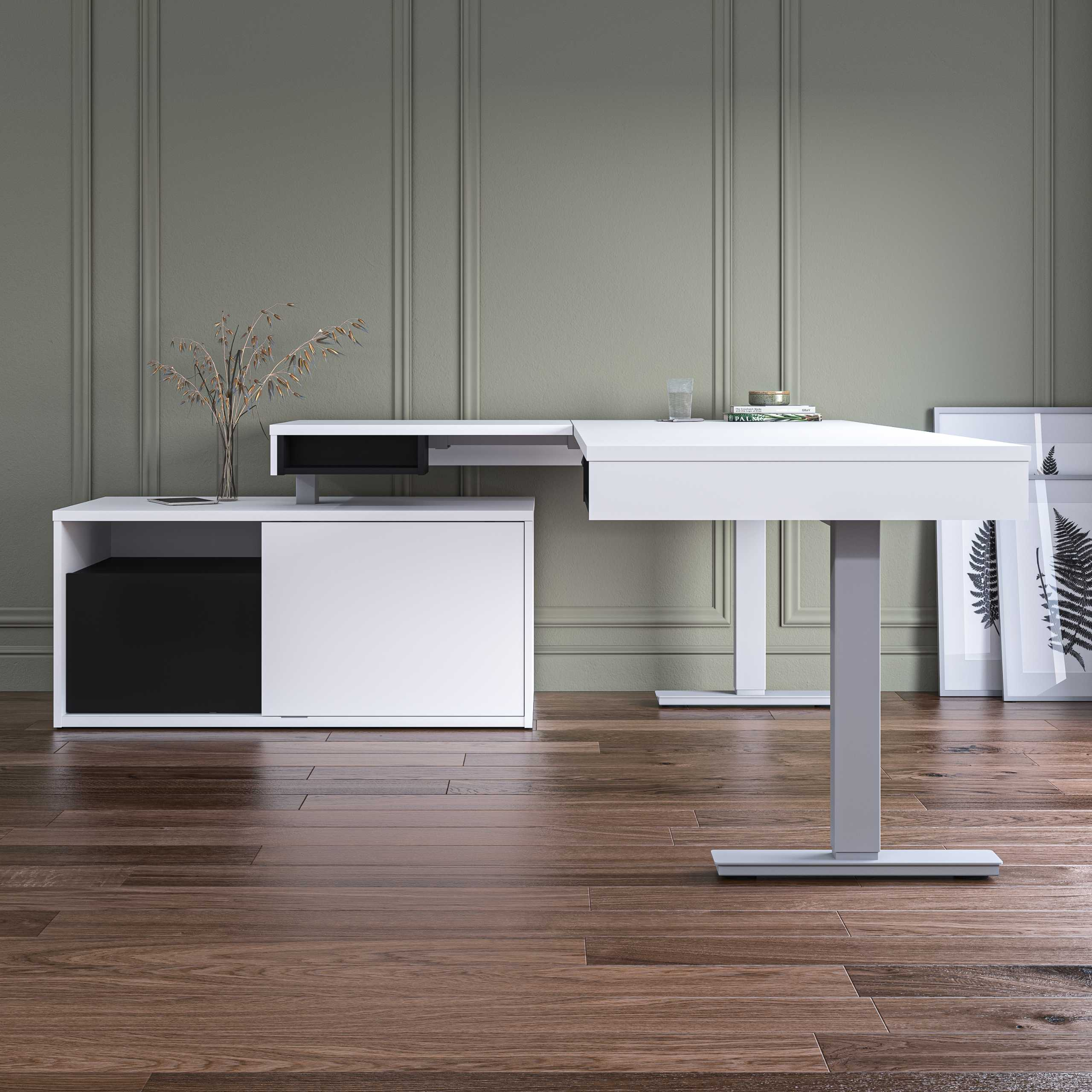 L-Shaped Standing Desk with Credenza