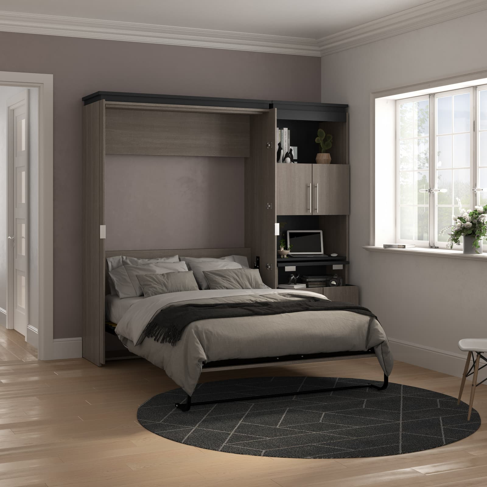 dark murphy bed with side desk in shelving units and dark bedding