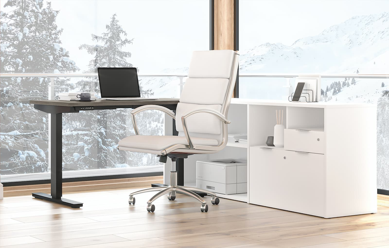 l-shaped standing desk with white credenza and white swivel chair. laptop on the standing desk. snowy mountains and trees outside.