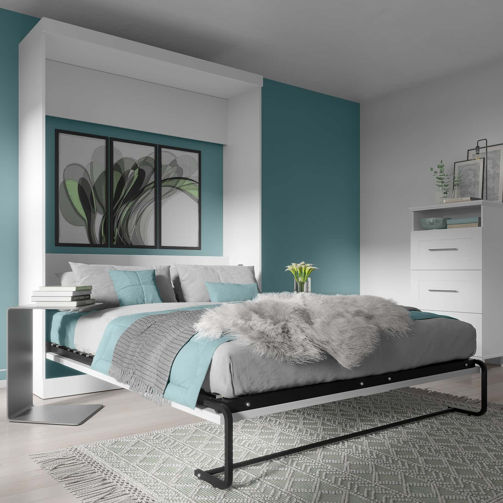 white queen murphy bed with blue wall and grey bedding