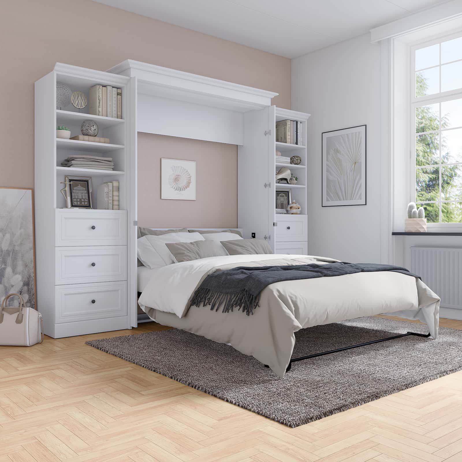 How to Maximize Space in a Small Bedroom – A Queen Murphy Bed, Mirrors, and More