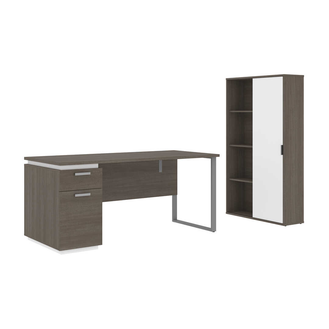 66W Desk with Single Pedestal and Storage Cabinet
