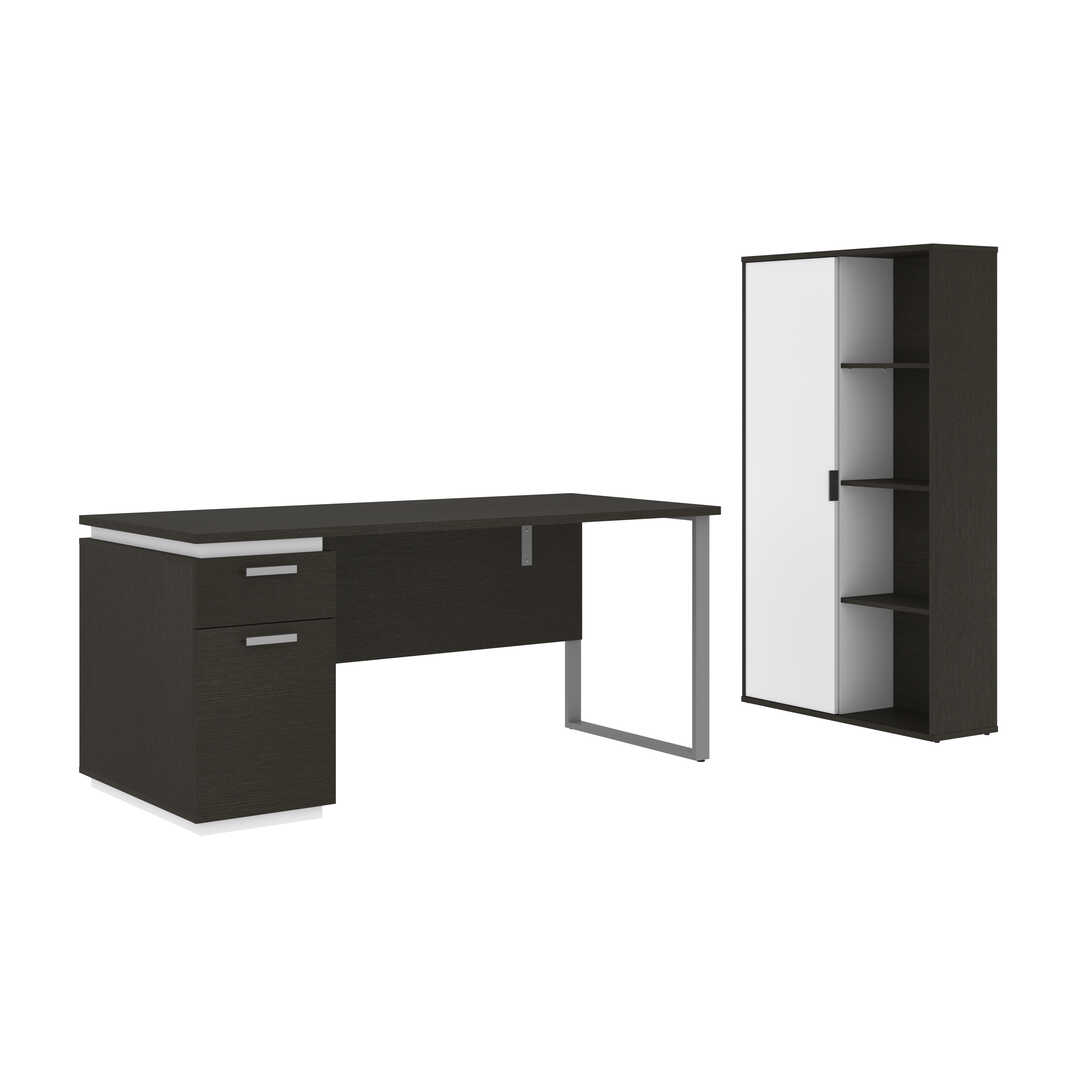 2-Piece Set Including a Desk with Single Pedestal and a Storage Unit with 8 Cubbies