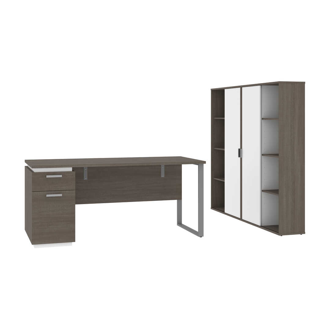 66W Desk with Single Pedestal and Storage Cabinets