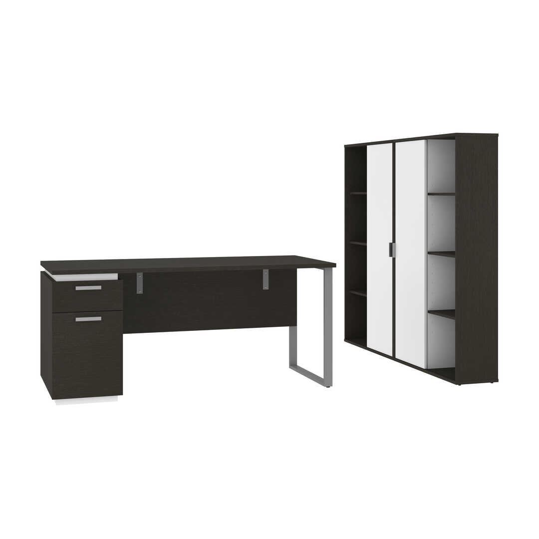 3-Piece Set Including a Desk with Single Pedestal and Two Storage Units with 8 Cubbies