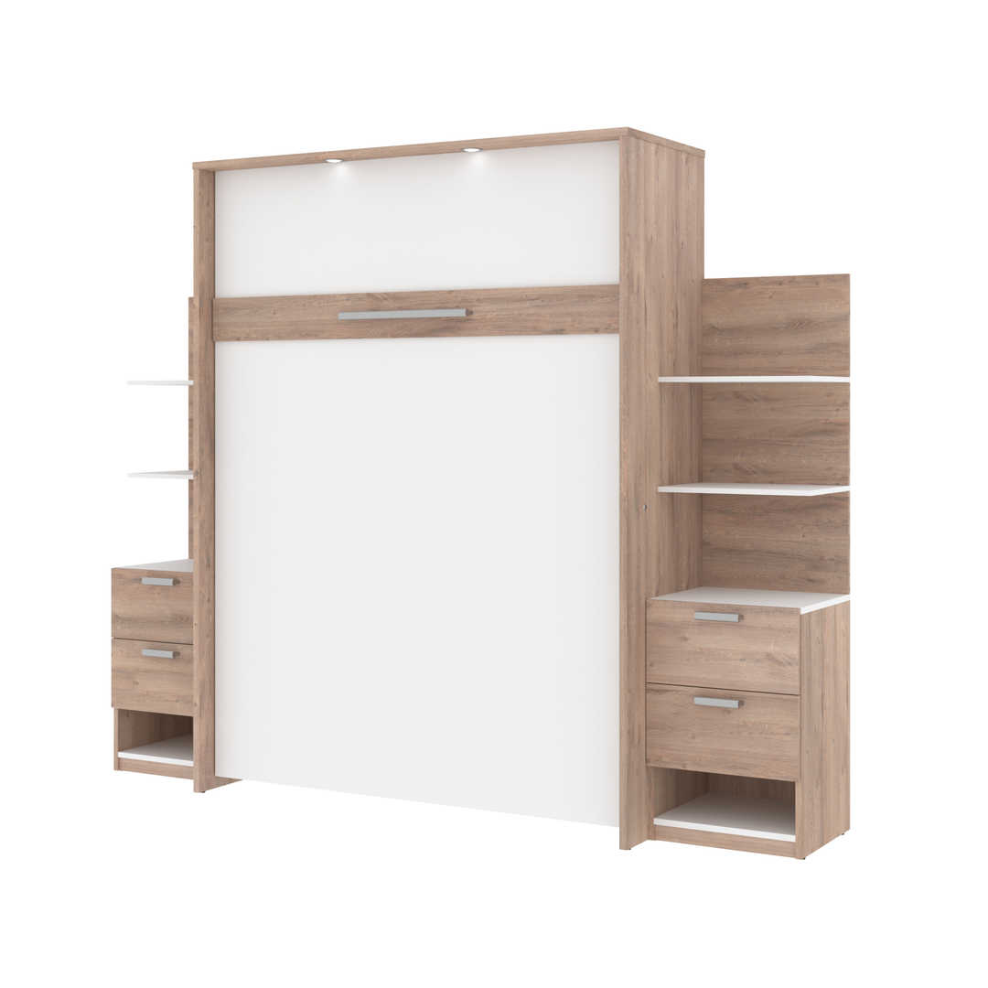 Queen Murphy Bed with Floating Shelves and Drawers (104W)