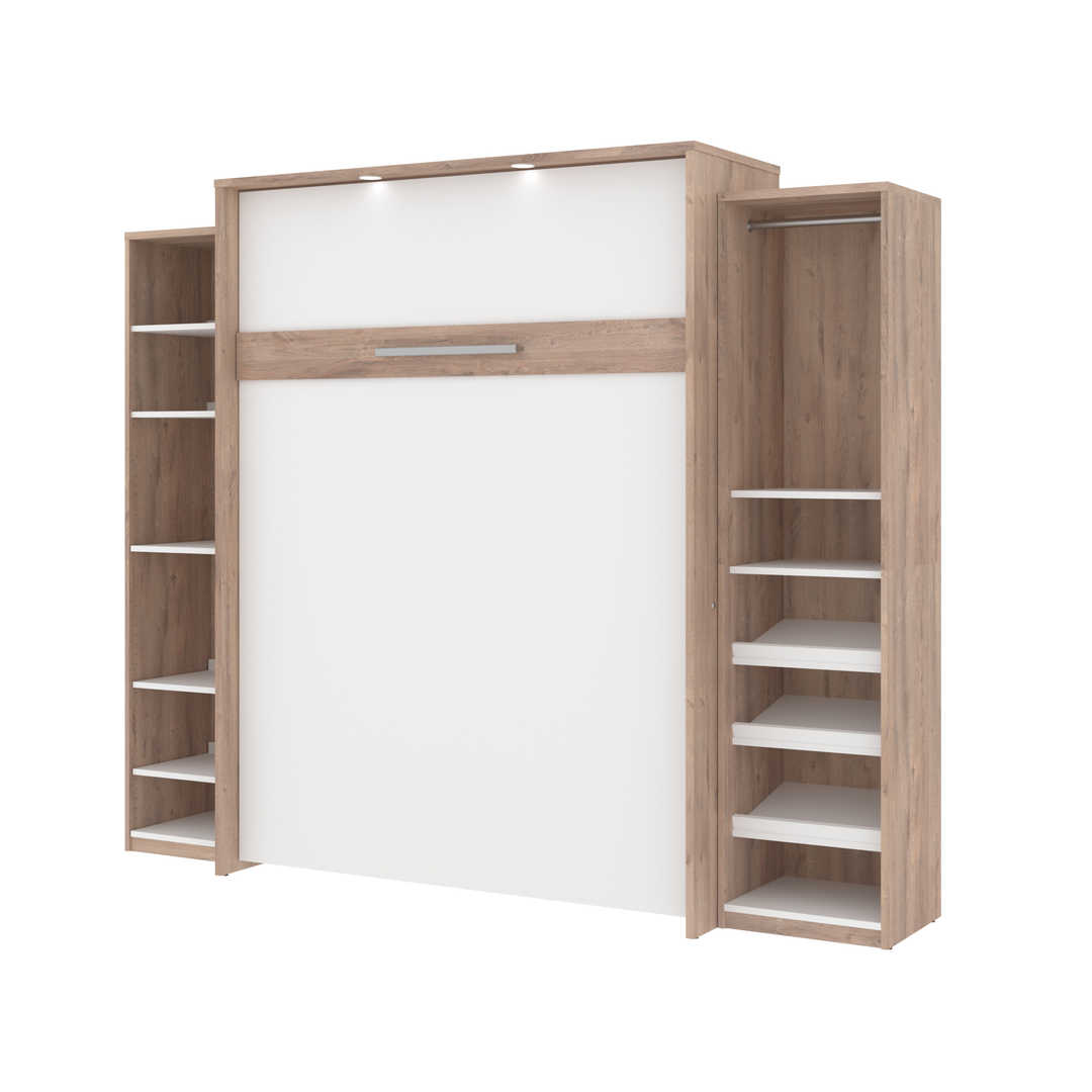 Queen Murphy Bed with 2 Narrow Shelving Units (104W)