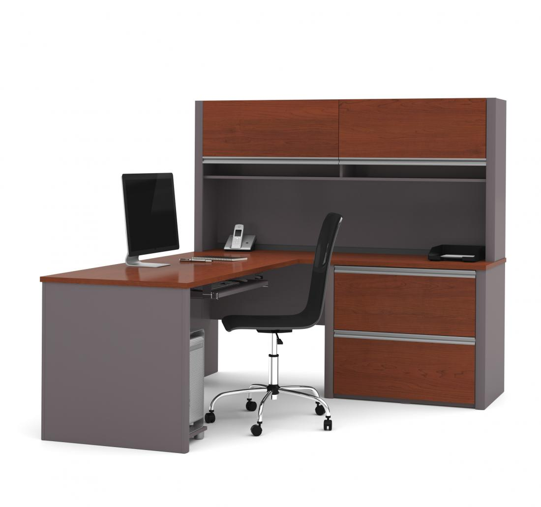 L-Shaped Desk with Lateral File Cabinet and Hutch
