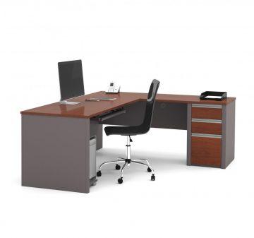 72W L-Shaped Desk with Pedestal