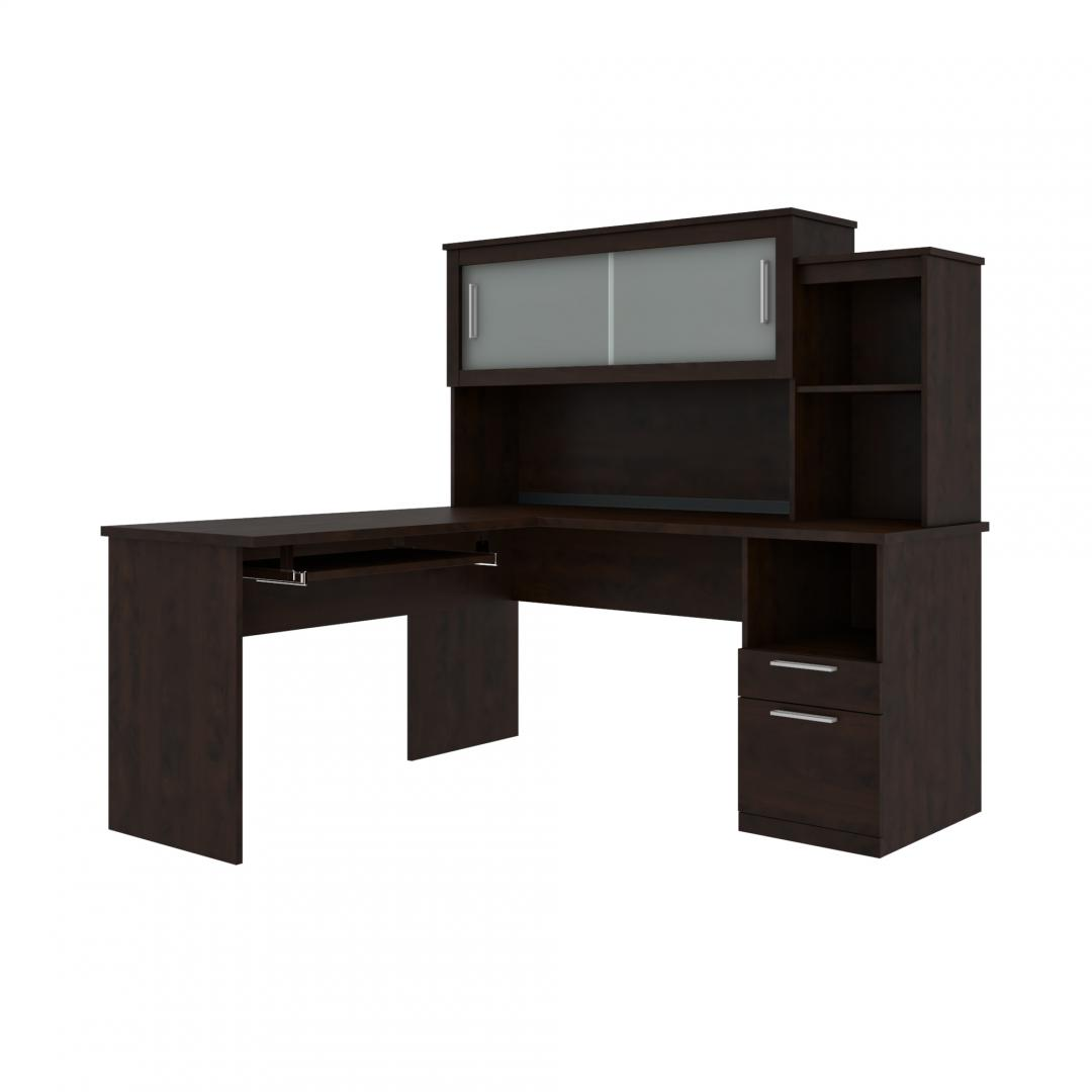 65W L-Shaped Desk with Hutch