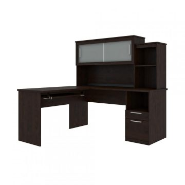 Executive L-Shaped Desk with Pedestal and Hutch