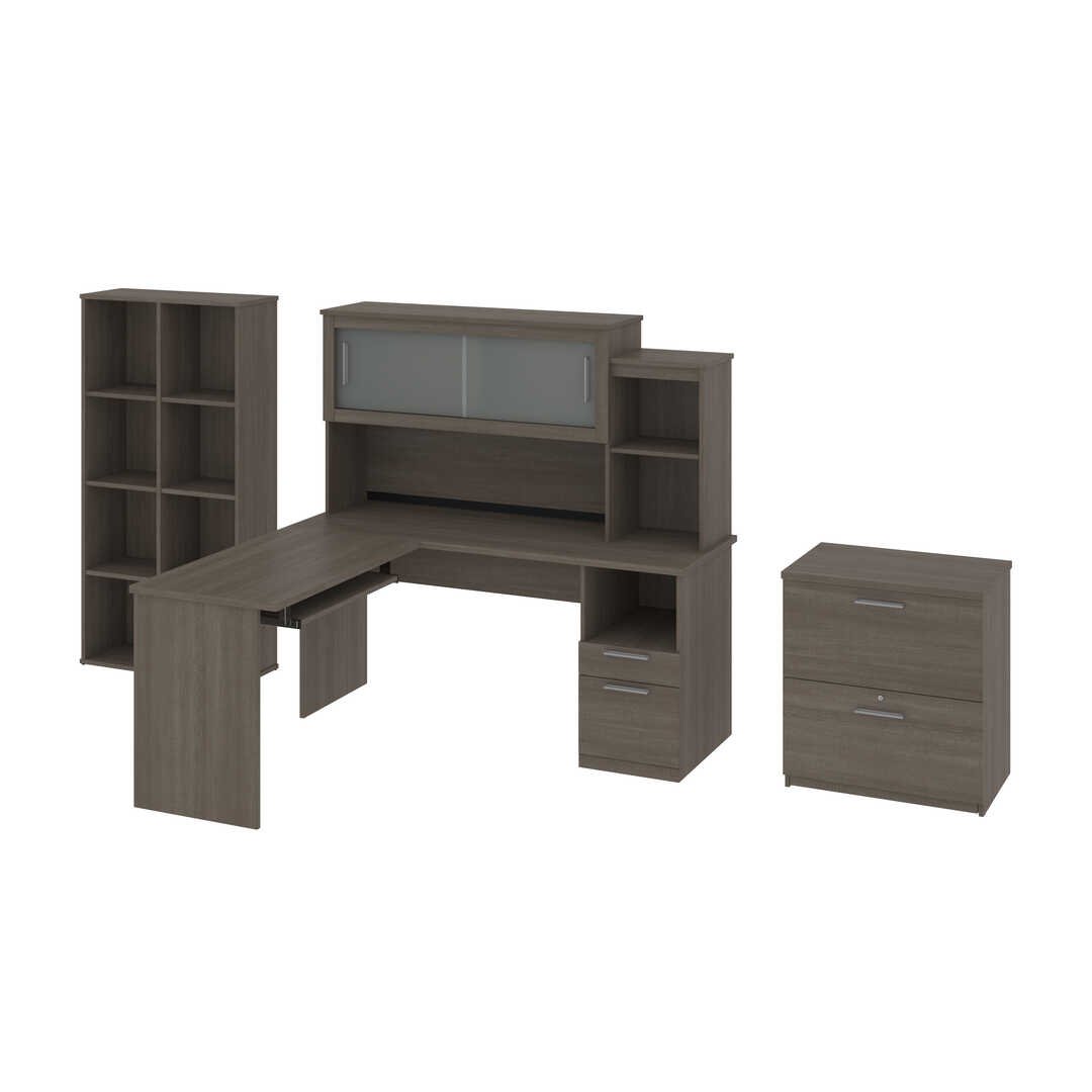 65W L-Shaped Desk with Hutch, Lateral File Cabinet, and Cubby Bookcase