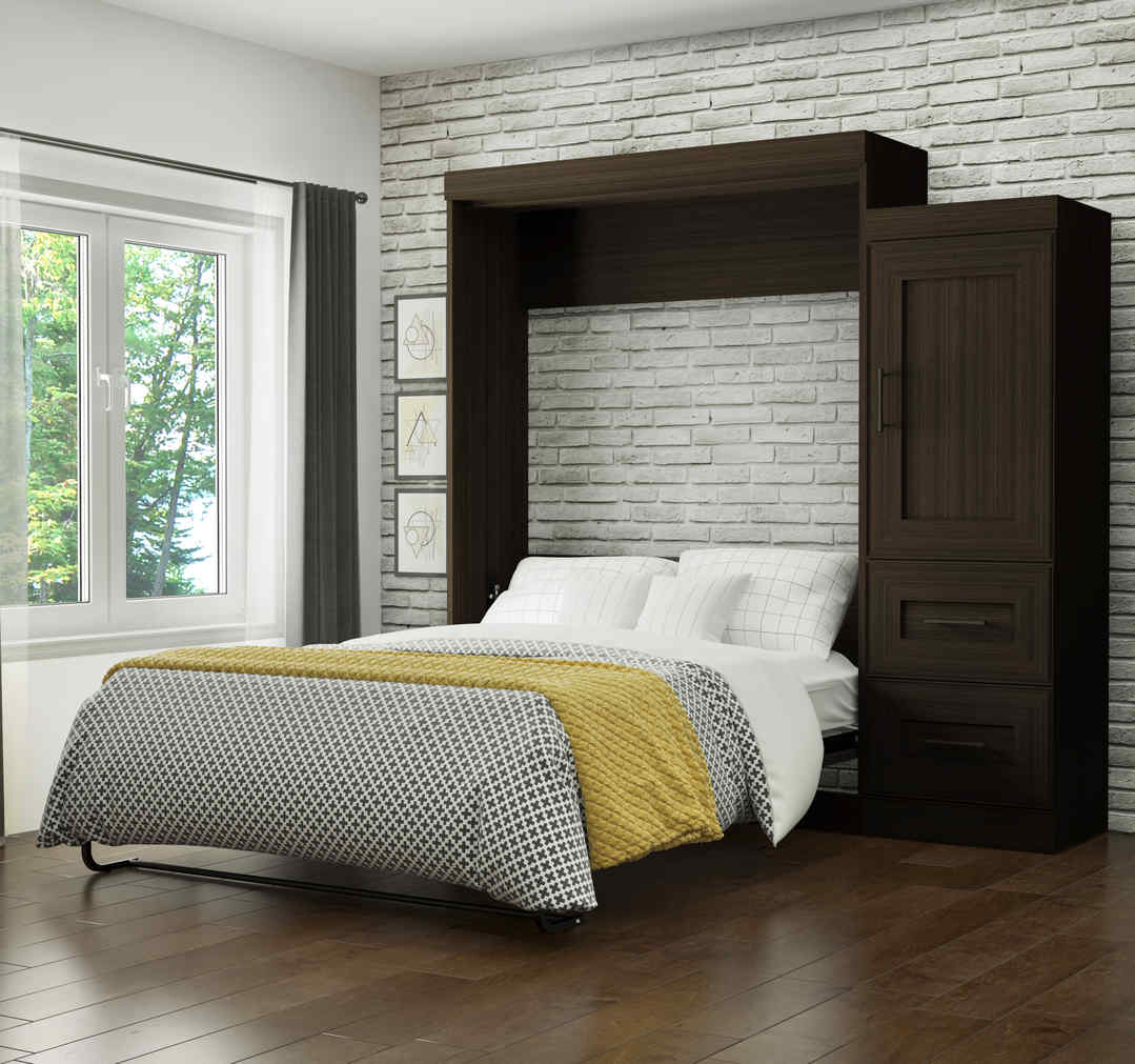 Queen Murphy Bed and Storage Unit with Drawers (90W)