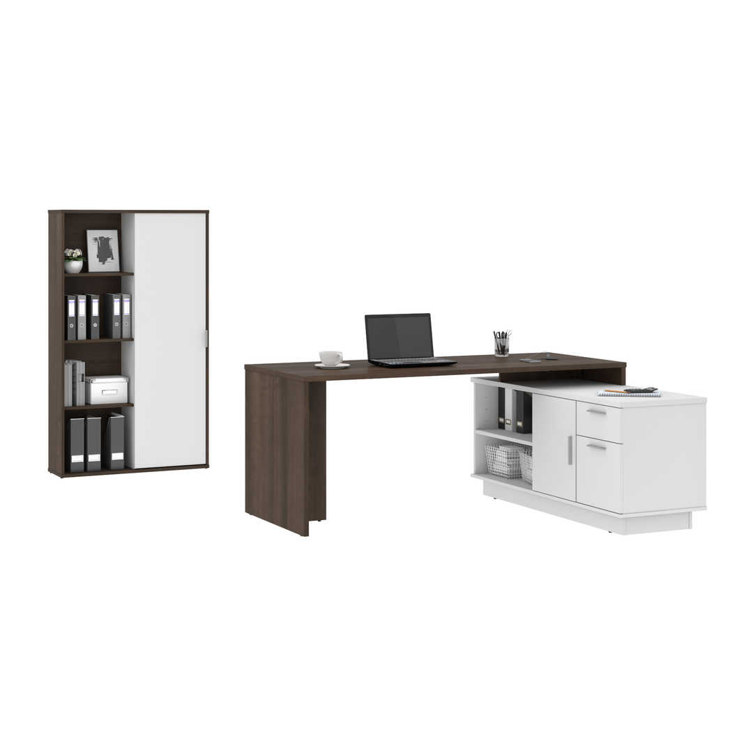 72W L-Shaped Desk with Storage Cabinet