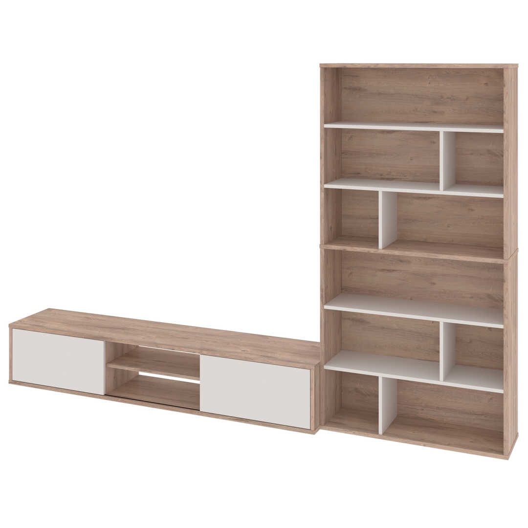TV Stand with 2 Asymmetrical Shelving Units