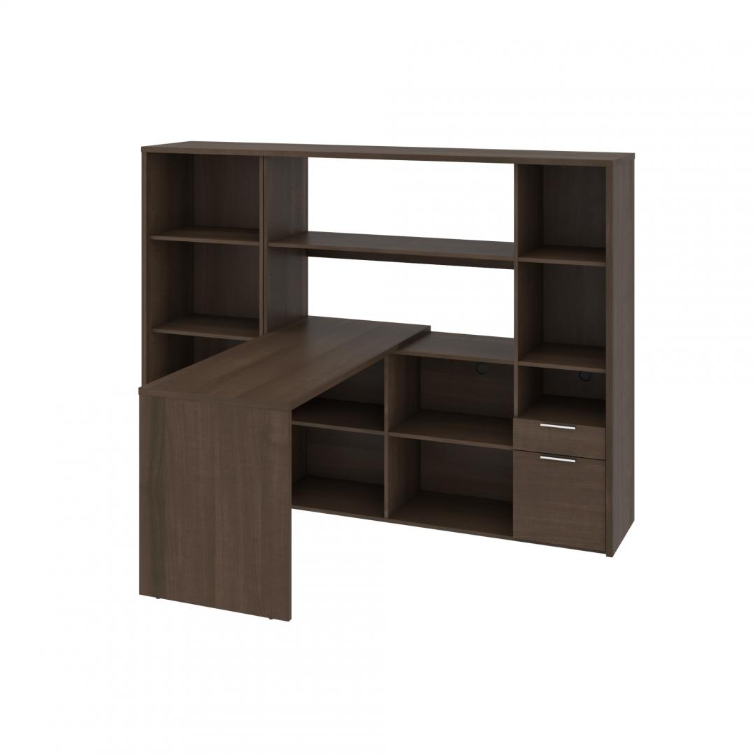 60W L-Shaped Desk with Hutch and Bookcase