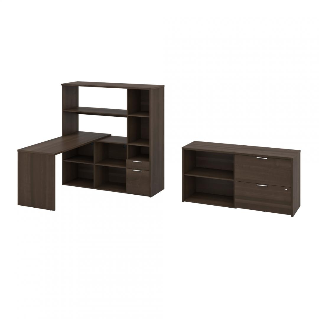 60W L-Shaped Desk with Hutch, Lateral File Cabinet, and Small Shelving Unit