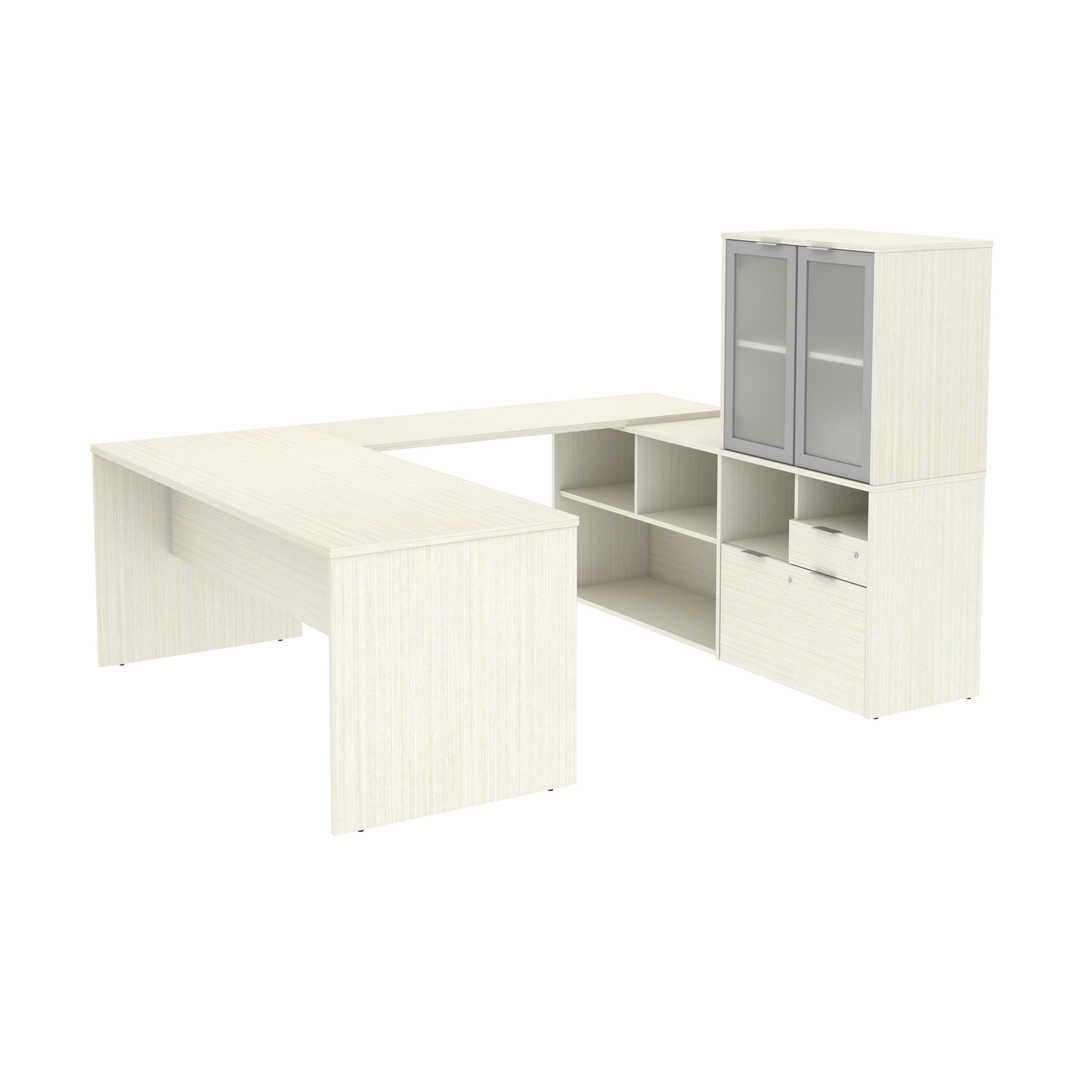 U-Shaped Executive Desk with Frosted Glass Doors Hutch