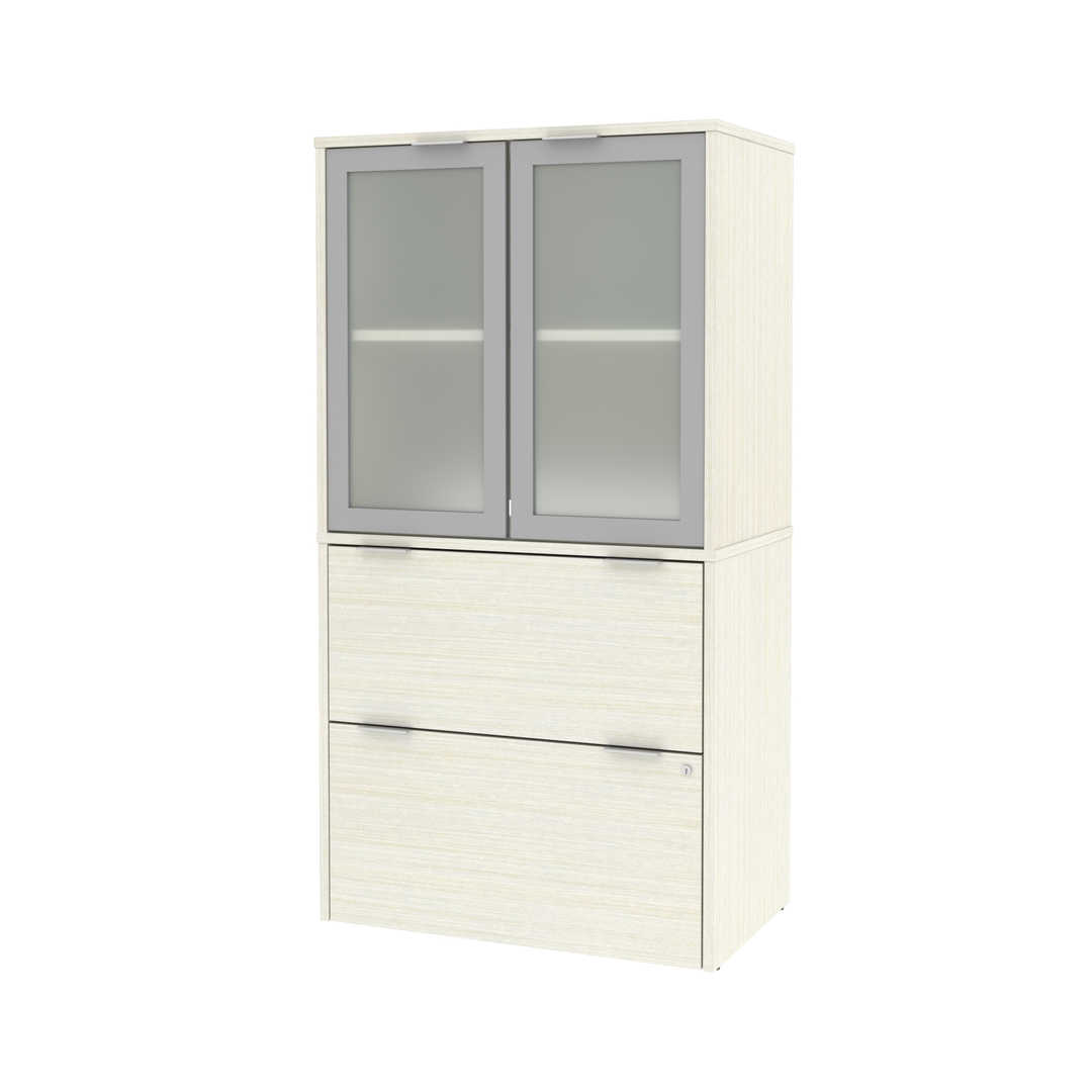 Lateral File Cabinet with Frosted Glass Doors Hutch