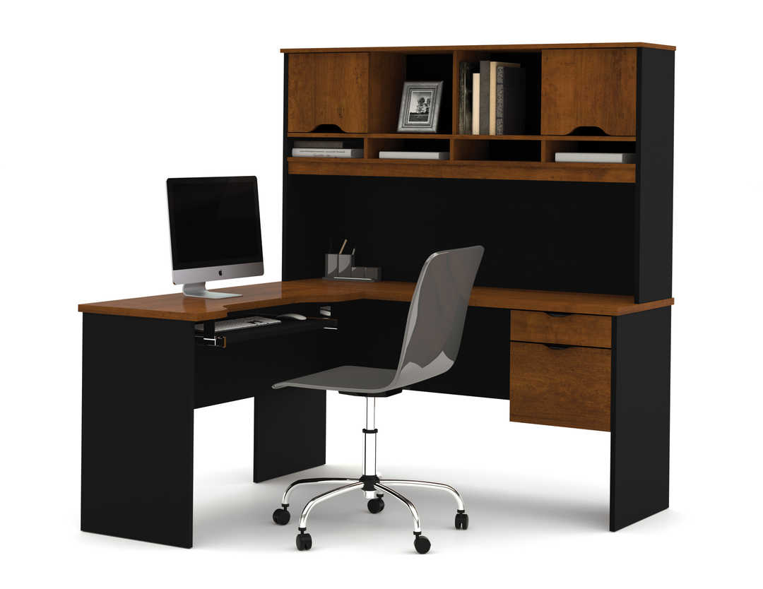 L-Shaped Desk with Dual Half Pedestal and Hutch