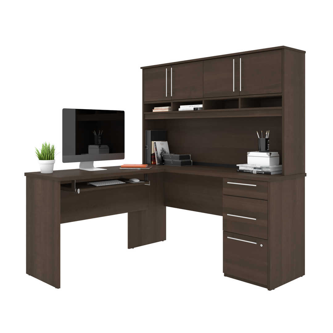 60W L-Shaped Desk with Hutch